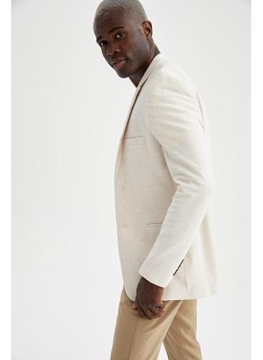 DeFacto Slim Fit Blazer Ceket Ekru
